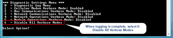 Figure 5  Disable All Verbose Modes