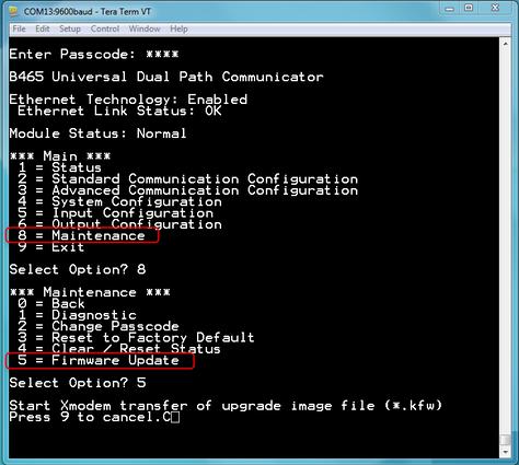 Figure 2 Menus to select Firmware Update