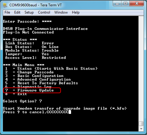 Figure 2 Select 7 Firmware Update