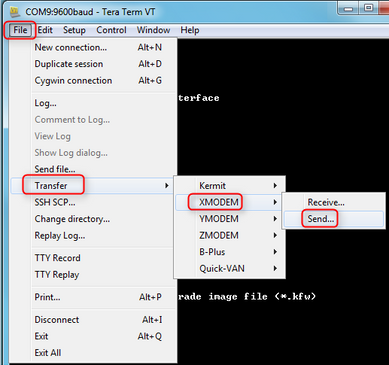 Figure 3 XMODEM Send dialog