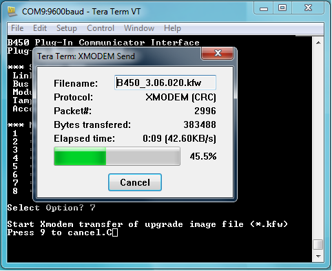 Figure 5  XMODEM Send Progress
