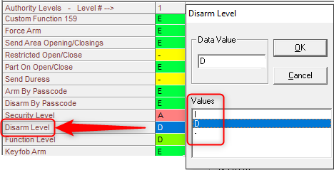 Figure 2 Disarm Level selection