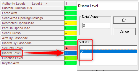 Figure 2  Disarm Level selection in the Authority Level