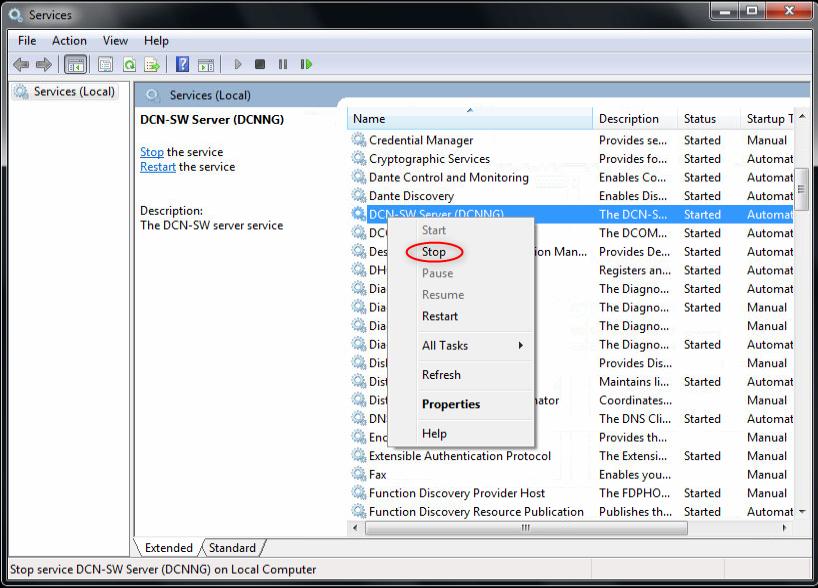 DCN-SW Server service