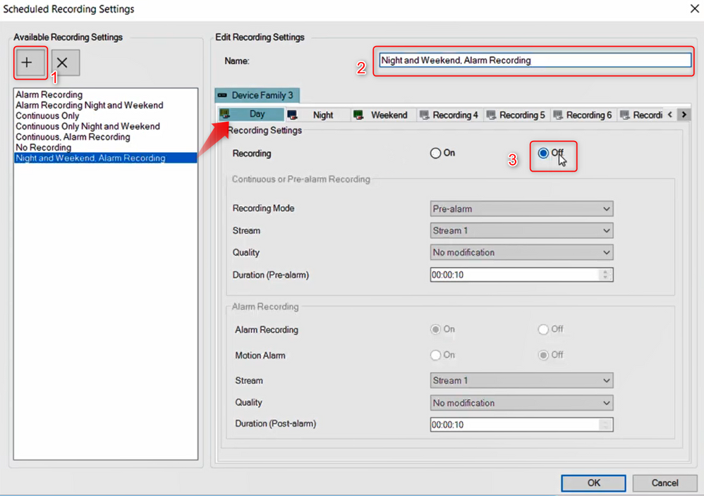 6_How to configure Motion Recording for nights and weekends in Bosch Video Management System (BVMS).png