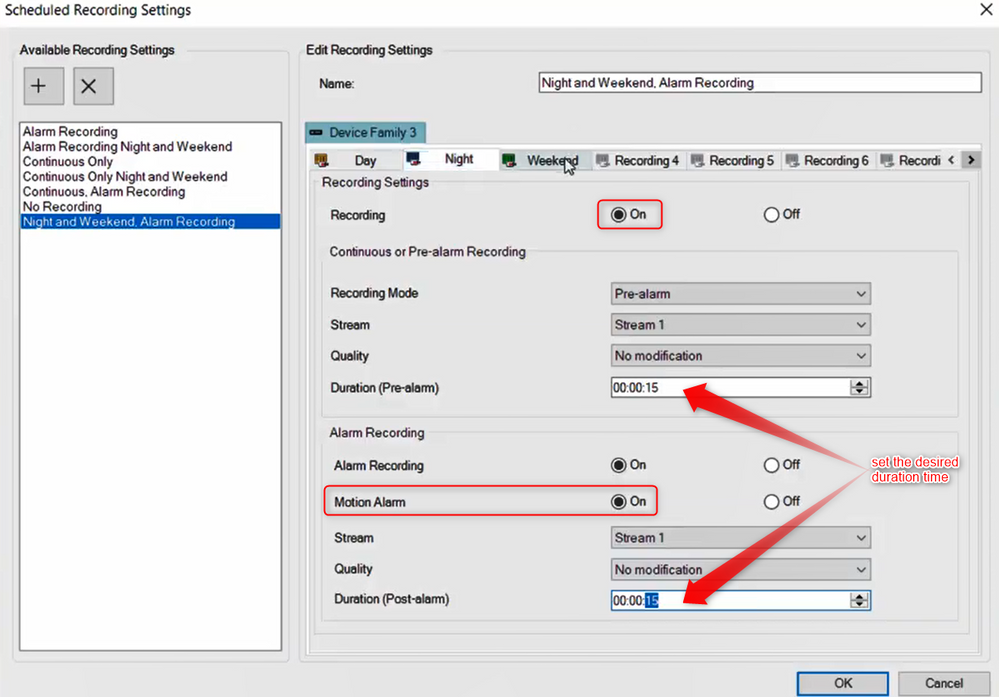 7_How to configure Motion Recording for nights and weekends in Bosch Video Management System (BVMS).png