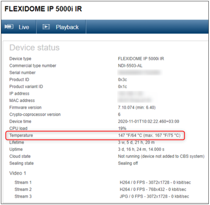 Why Flexidome IP 5000i IR is showing high temperatures in its Dashboard.png