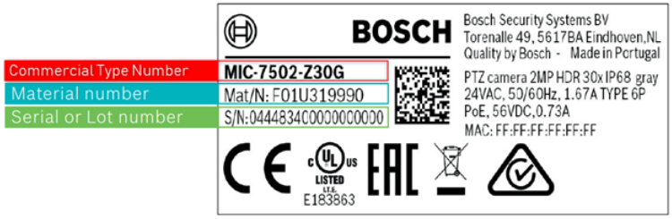 2_Where can I find the customer number & material serial commercial type number of Bosch devices.png