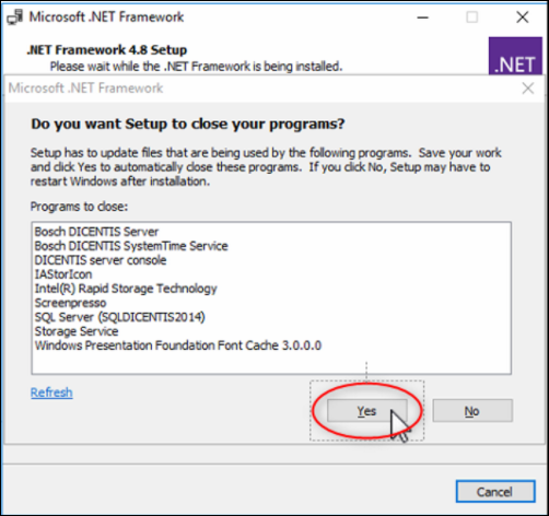 25 Microsoft SQL Database DICENTIS update, backup, restore and Microsoft .NET Framework related problems.png
