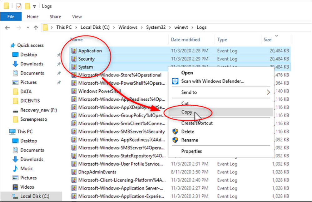 5 How to extract the Microsoft Windows Server log file (Event Viewer) on DICENTIS Server.png