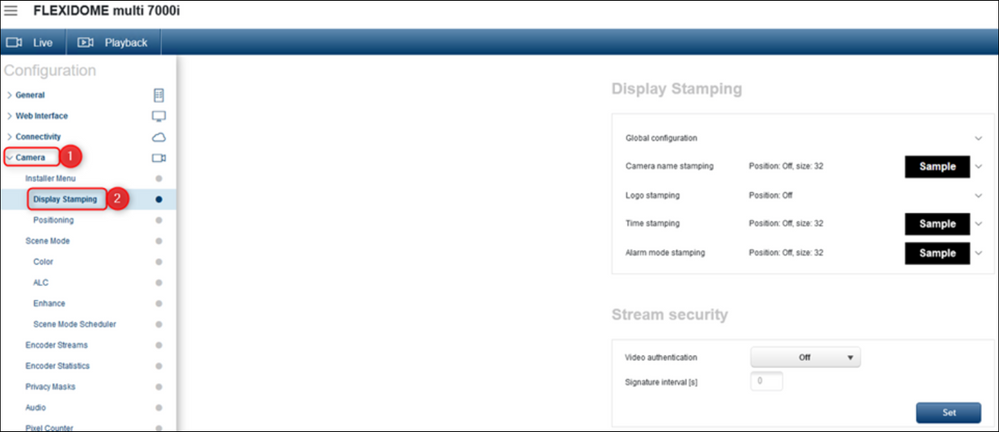 """Where is the """"Display stamping"""" submenu of FLEXIDOME multi 7000i (CPP14 - Bosch cameras) in WEB UI.png"""