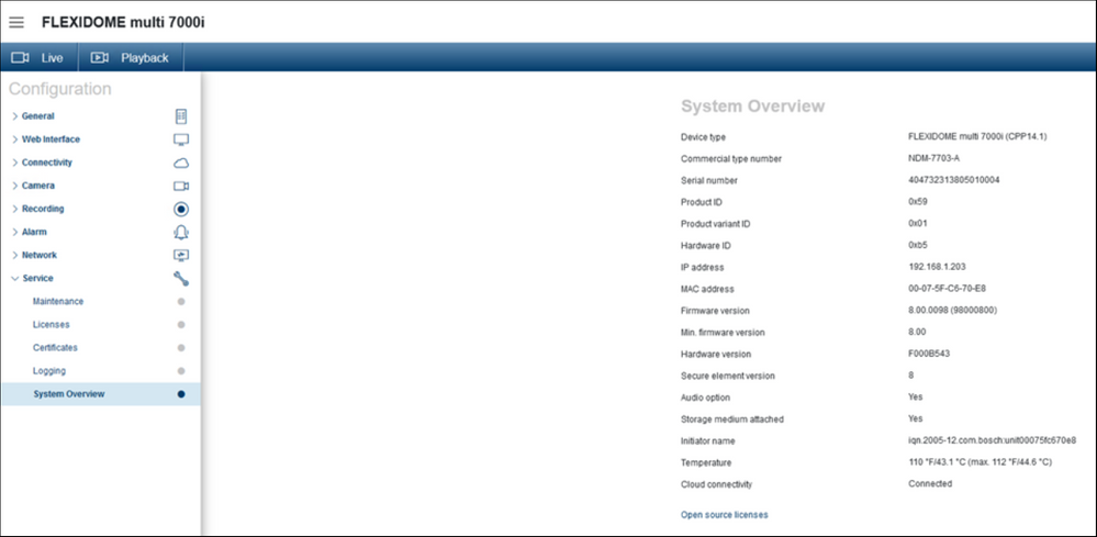 1 Where can you find the System Overview and Dashboard of FLEXIDOME multi 7000i camera.png